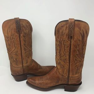 New Lucchese Cowboy Boots N4540 54 Tan Burnished